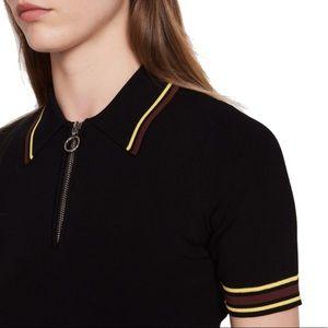 Sandro Striped Detail Knit Polo Top
